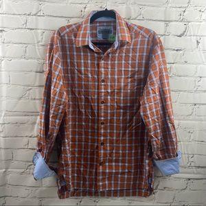 Johnston & Murphy plaid button up shirt